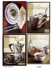 Рисовая бумага для декупажа Кофе, А4 Бижу-Мастер Россия