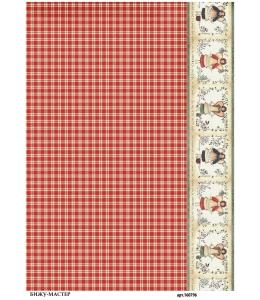 Рисовая бумага для декупажа Красная клеточка, А4, Россия