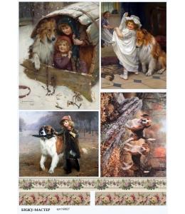 Рисовая бумага для декупажа Собаки, А4, Россия