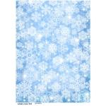 Рисовая бумага для декупажа Снежинки на голубом, А4, Бижу-Мастер, Россия
