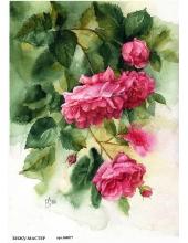 Рисовая бумага для декупажа Акварельные розы, А4, Россия