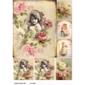 Рисовая бумага для декупажа Девочка среди роз винтаж, А4, Бижу-Мастер, Россия