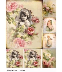 Рисовая бумага для декупажа Девочка среди роз винтаж, А4, Россия