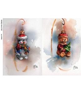 Рисовая бумага для декупажа 160904 Ёлочные игрушки, А4, Россия