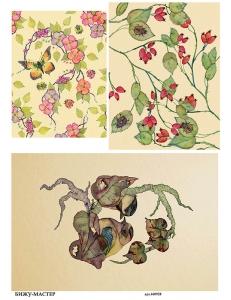 Рисовая бумага для декупажа Ягоды и цветы, А4,  Россия
