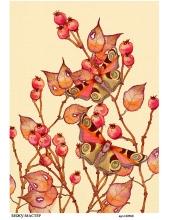 Рисовая бумага для декупажа Шиповник и бабочки, А4,  Россия