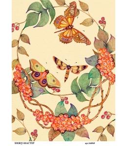 Рисовая бумага для декупажа Облепиха и бабочки, А4,  Россия
