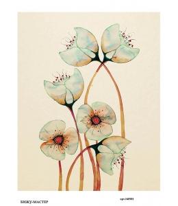 Рисовая бумага для декупажа Голубые акварельные цветы, А4,  Россия