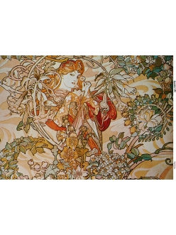 Рисовая бумага для декупажа Женщина с цветами, Альфонс Муха, А4, Россия
