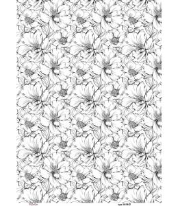 Рисовая бумага для декупажа Цветочный фон, А4,  Россия