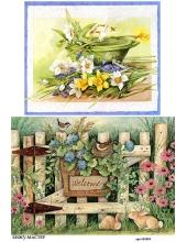 Рисовая бумага для декупажа Милый сад, А4,  Россия