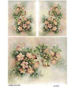 Рисовая бумага для декупажа Розовые цветы Sonie Ames, А4,  Россия