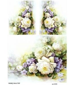 Рисовая бумага для декупажа Белые розы Sonie Ames, А4,  Россия