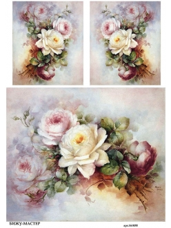 Рисовая бумага для декупажа Кремовые розы Sonie Ames, А4, Россия