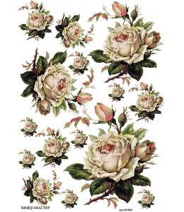 Рисовая бумага для декупажа Белая роза, А4,  Россия