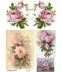 Рисовая бумага для декупажа Розовые розы, А4,  Россия