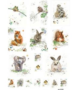 Рисовая бумага для декупажа Животный мир акварель, А4,  Россия