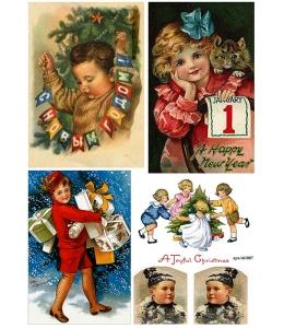Рисовая бумага для декупажа Новогодние дети, А4, Россия