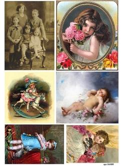 Рисовая бумага для декупажа Дети и ангел, А4, Россия