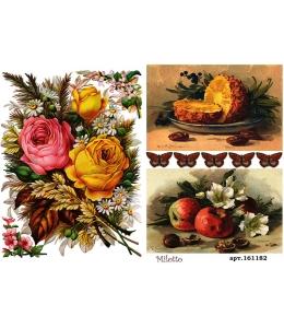 Рисовая бумага для декупажа Розы и фрукты, А4,  Россия