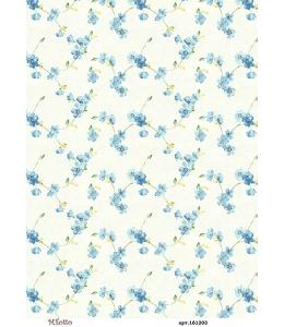 Рисовая бумага для декупажа Фон с голубыми цветами, А4,  Россия
