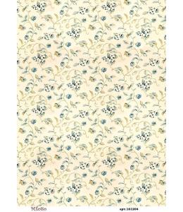 Рисовая бумага для декупажа Фон с синими цветами, А4,  Россия