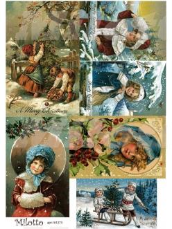 Рисовая бумага для декупажа Рождественские дети, А4, Россия
