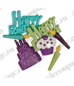 """Декоративные пуговицы """"Happy Birthday"""", серия Favorite Findings, Button Fashion"""