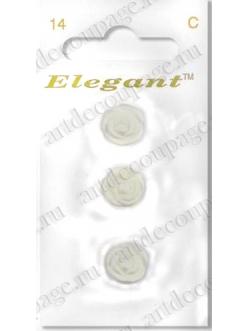 """Декоративные пуговицы """"Белые розочки"""" 3 шт., серия Elegant, Button Fashion"""