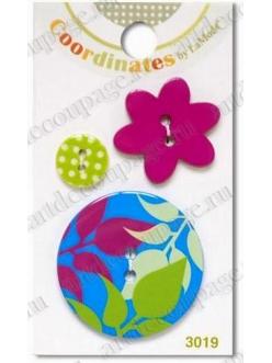 """Декоративные пуговицы, набор """"Листья"""" серия Coordinates La Mode, 3 шт., Button Fashion"""