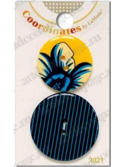 """Декоративные пуговицы, набор """"Цветы и графика"""" серия Coordinates La Mode, 2 шт., Button Fashion"""