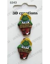 """Декоративные объемные пуговицы """"Забавная лягушка"""", серия 3D creations, 2 шт., Button Fashion"""