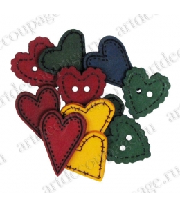 "Декоративные пуговицы ""Сердечки в стиле кантри"", серия Favorite Findings, Button Fashion"