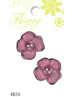 """Декоративные пуговицы """"Виола розовая"""" серия Flower Garden, 2 шт., Button Fashion"""