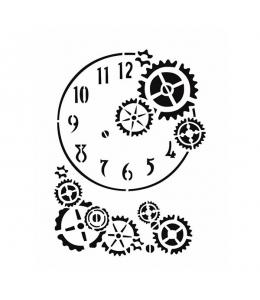 """Трафарет Cadence STAS471 """"Часы и шестеренки"""", 21х29 см"""