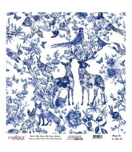 Рисовая бумага Blue Shades K005 животные и цветы, Cadence 30х30 см
