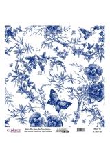Рисовая бумага Blue Shades K009 бабочки в цветах, Cadence 30х30 см