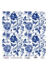 Рисовая бумага Blue Shades K010 бабочки и розы, Cadence 30х30 см