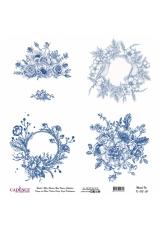 Рисовая бумага Blue Shades K013 цветочные композиции, Cadence 30х30 см