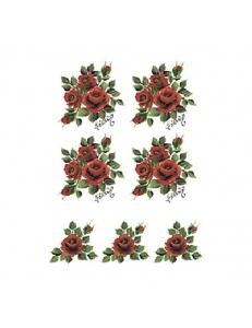 """Трансфер (переводная картинка) по ткани Cadence KT-104 """"Букетики алых роз"""", 17х25 см"""