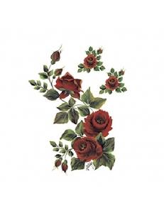 """Трансфер (переводная картинка) по ткани Cadence KT-93 """"Куст алых роз"""", 17х25 см"""