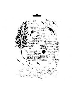 Трафарет универсальный Перо и текст, 21х29 см, Cadence