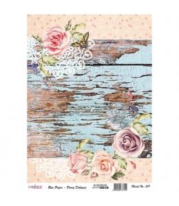 """Рисовая бумага для декупажа Cadence 519 """"Старые доски и розы"""", 30х41 см"""