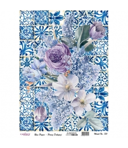 """Рисовая бумага для декупажа Cadence 731 """"Фиолетовые цветы на плитке"""", 30х41 см"""