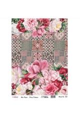 """Рисовая бумага для декупажа Cadence 733 """"Розовые цветы на плитке"""", 30х41 см"""