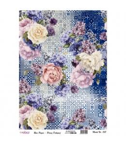 """Рисовая бумага для декупажа Cadence 738 """"Цветы на синей плитке"""", 30х41 см"""
