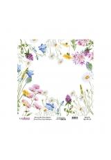 Рисовая бумага Universal Collection UC096 цветы на белом, Cadence 30х30 см