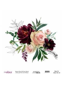 Рисовая бумага Watercolor Flower WFC003 цветочная композиция, Cadence 30х30 см