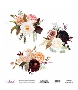 Рисовая бумага Watercolor Flower WFC008 цветочная композиция, Cadence 30х30 см
