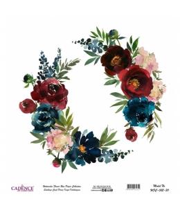 Рисовая бумага Watercolor Flower WFC022 цветочная композиция, Cadence 30х30 см